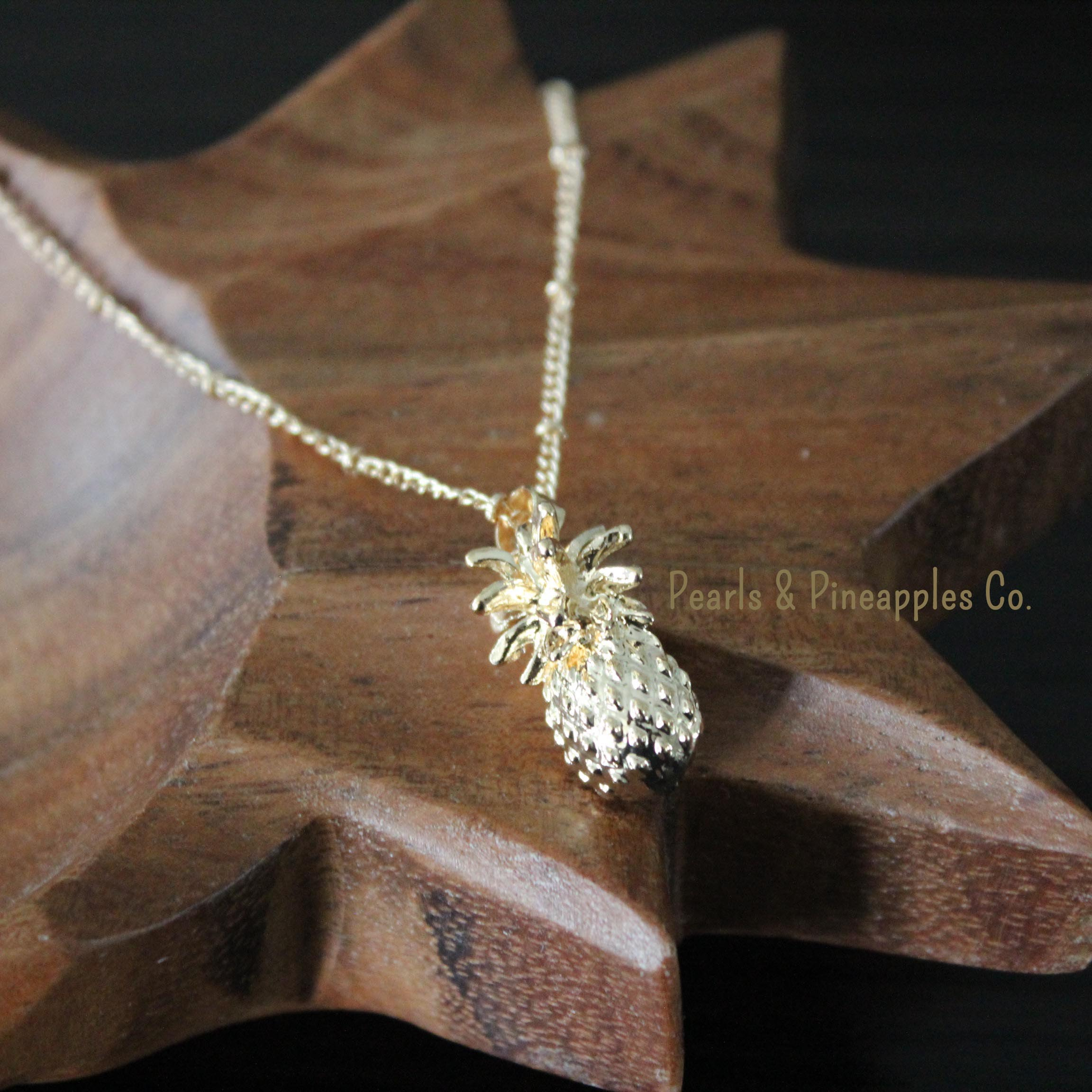 pineapple crystal necklace