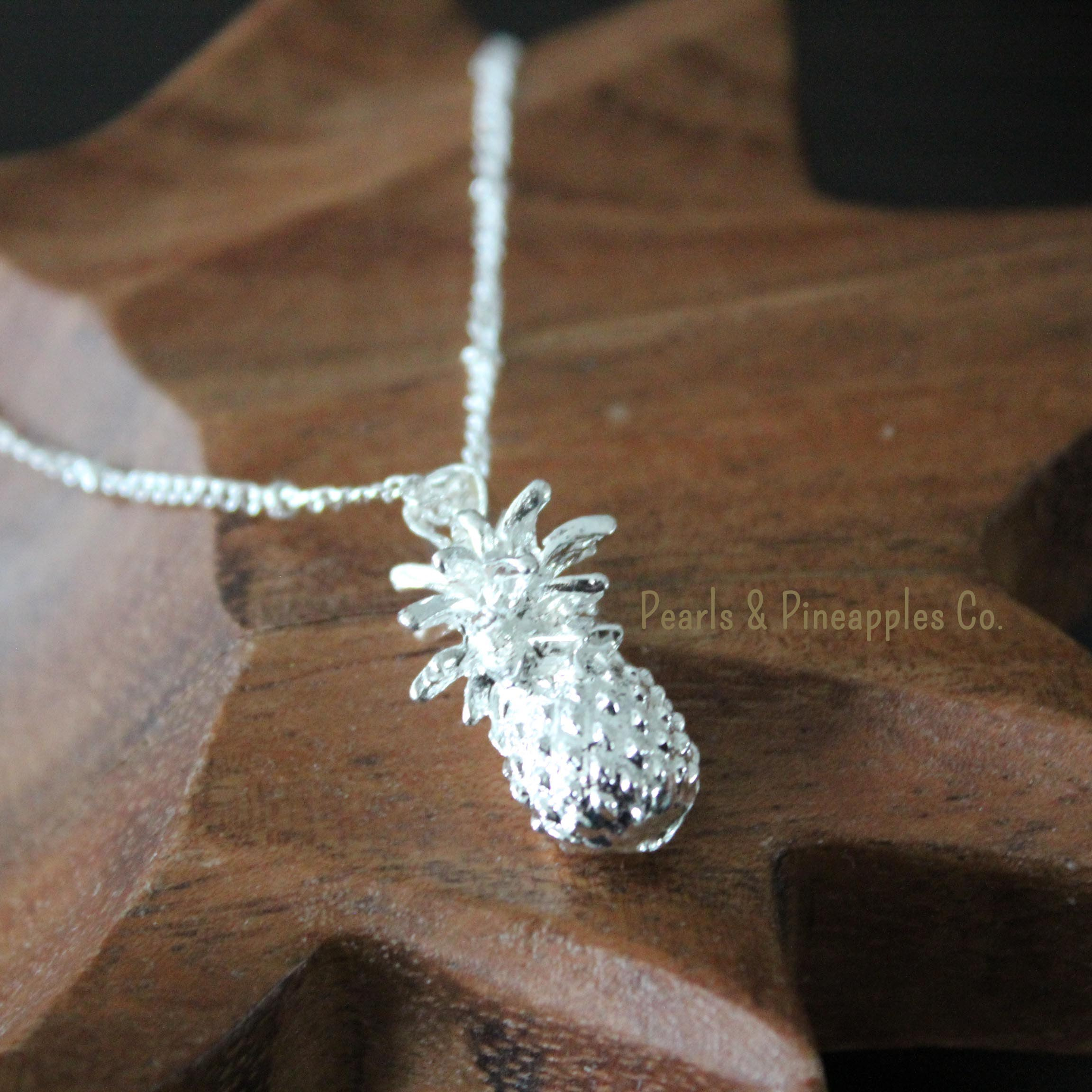 necklace sterling pineapple mix baby gold silver plate